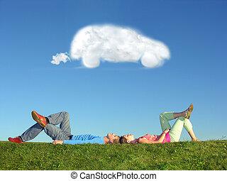 paar, und, wolke, traumauto