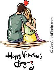 paar, valentines dag, illustratie