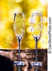 paar, van, elegant, champagne bril