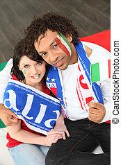 paar, van, italiaanse , voetbal, aanhang