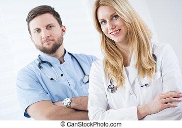 paar, van, jonge, artsen