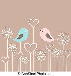 paar, van, schattig, vogels, met, bloemen, en, hartjes