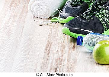 paar, van, sport schoenen, en, fitness, accessoires
