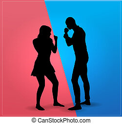 paar, vechten, disputeren