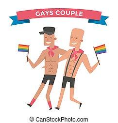 paar, vector, mensen, vrolijk, homosexueel