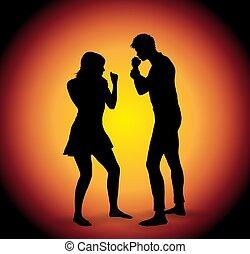 paar, vector, silhouette, vecht