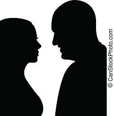 paar, vector, silhouette