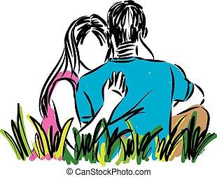 paar, vektor, liebe, abbildung