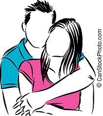 paar, vektor, liebe, abbildung, glücklich