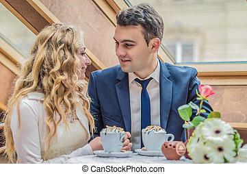 paar, verheiratet, café, gerecht
