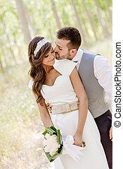paar, verheiratet, hintergrund, gerecht, natur