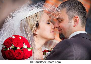 paar, verheiratet, junger, gerecht
