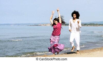paar, verliefd, dancing, vrolijke , op, zee