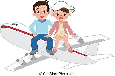 paar, vliegtuig, vrolijke