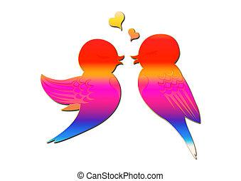 Paar Vogel, Herz, Illustration