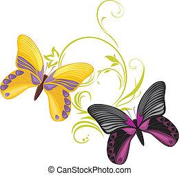 paar, von, a, hell, vlinders