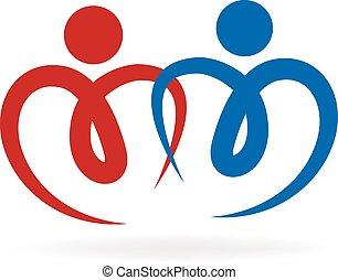 paar, von, liebe, logo, vektor