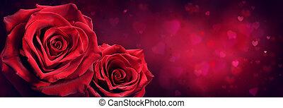 paar, von, rote rosen, in, herz- form, mit, rotes , leidenschaft, hintergrund