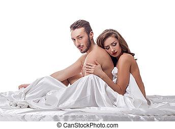 paar, vrijstaand, bed, erotica., witte , hartelijk