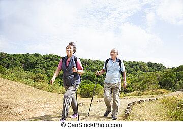 paar, vrolijke , wandelende, senior, aziaat