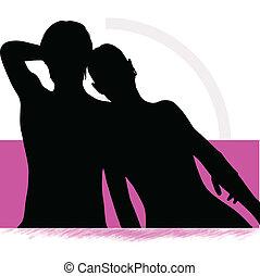 paar, vrouw, silhouette, bed, man