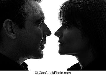 paar, vrouw, silhouette, man confronteren