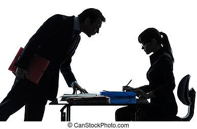 paar, vrouw, silhouette, zakenmens