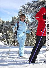 paar, wald, ski fahrend