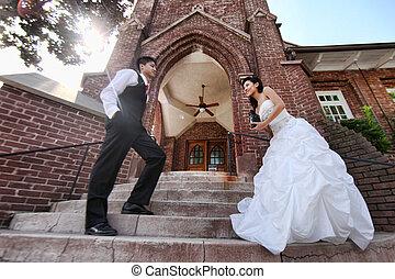paar, wedding, junger, draußen