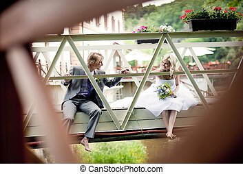 paar, wedding, schöne