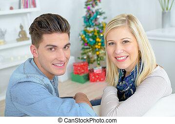 paar, weihnachten, junger