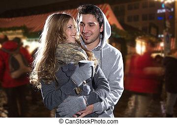paar, weihnachtsmarkt