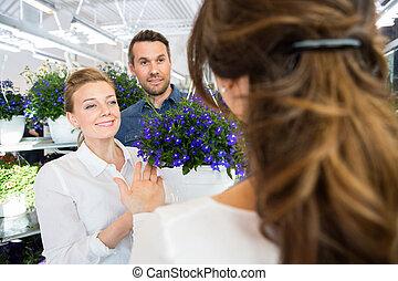 paar, wesen, bedienergeführt, per, blumenhändler, in, kaufen, blume, pflanze