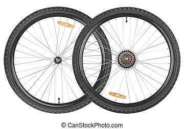 paar, wielen, voor, de fiets van de berg