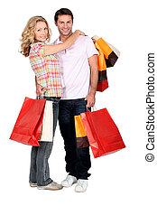 paar, winkelende lol