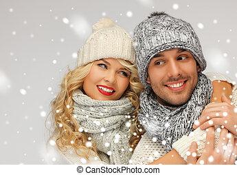 paar, winter, gezin, kleren