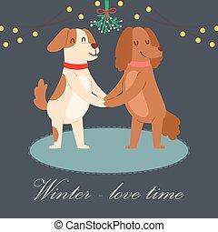 paar, winter tijd, wreath., vector, paar, buitenshuis, uitgeven, spotprent, honden, concept, vasthouden, schattig, maretak, hartelijk, handen, vacation., liefde, illustration., onder