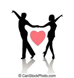 paar, witte , vrijstaand, achtergrond, dancing