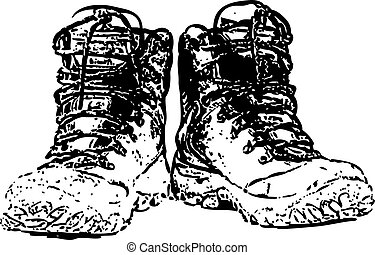 paar, witte , vrijstaand, laarzen, vieze