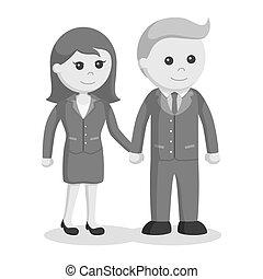 paar, zakelijk, holdingshanden