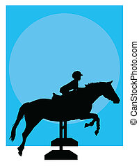 paard springend, silhouette