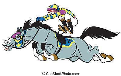 paard te rennen, spotprent