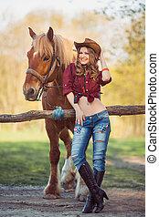 paarde, hoedje, meisje, cowboy