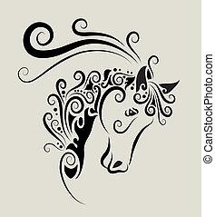 paarde, hoofd, ornament