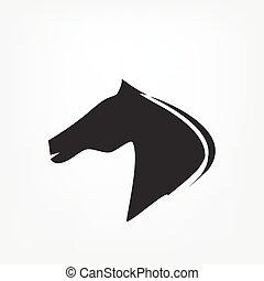 paarde, hoofd, -, vector, illustratie