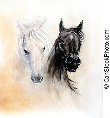 paarde, hoofden, twee, zwart wit, paarde, geesten, mooi,...