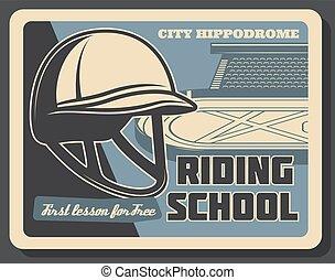 paarde, jockey, school, hippodrome, paardrijden, helmet.