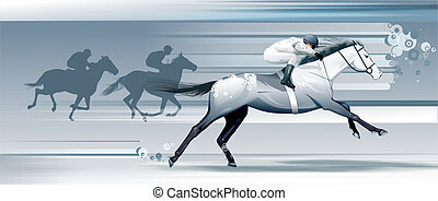 paarde, jockeys, het snelen