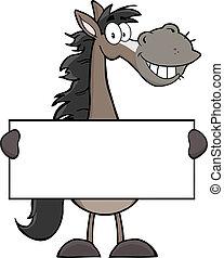 paarde, karakter, grijze , mascotte