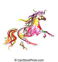 paarde, kleurrijke, symbool, schets, jaar, 2014, jouw, design.
